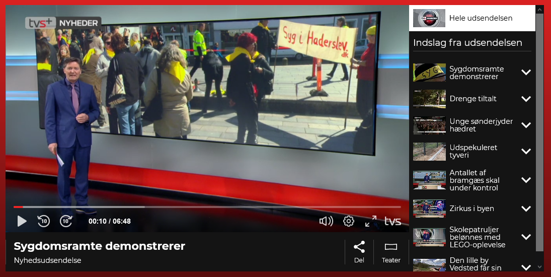 Syg i Haderslev   Foreningen Syg i Haderslev demonstrerer i Haderslev. TV Syd 28.04.2015